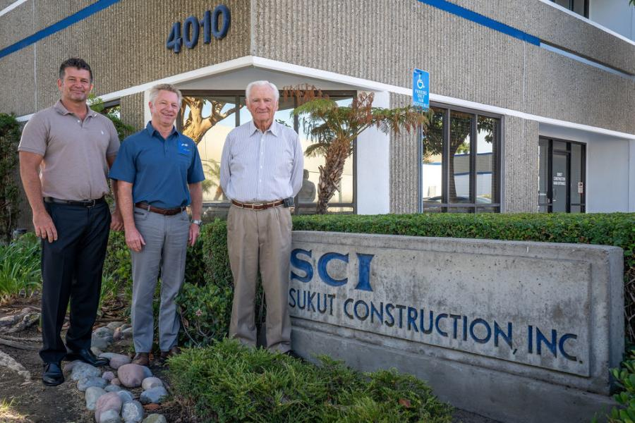 Three generations of Sukut: (L-R): Steve Yurosek, Mike Crawford and Myron Sukut are pictured in front of company's corporate office in Santa Ana, Calif.