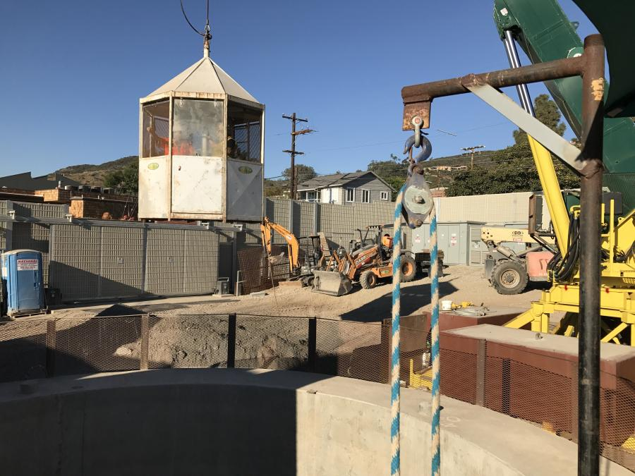 Workers are enlarging the tunnel that runs from Three Arch Bay to Aliso Beach from an average diameter of 6 ft. to an average diameter of 9 ft.