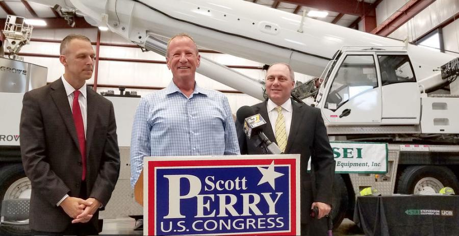 (L-R) are Rep. Scott Perry, SEI CEO Dennis Heller and Rep. Steve Scalise.