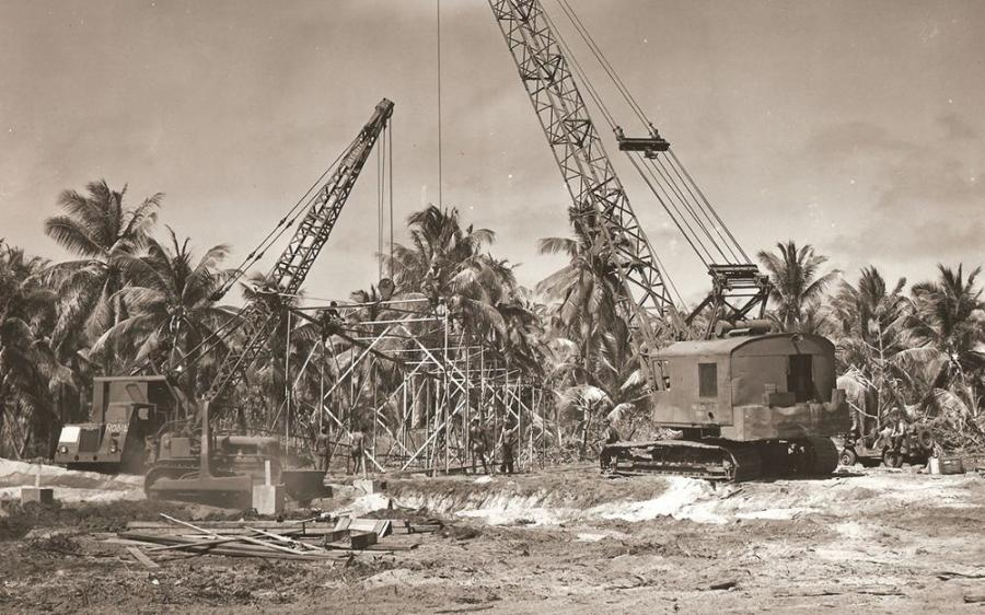 Seabees with the 53rd Naval Construction Battalion, build camera towers prior to atomic bomb testing on Bikini Atoll, July 1946. (U.S. Navy Seabee Museum photo)