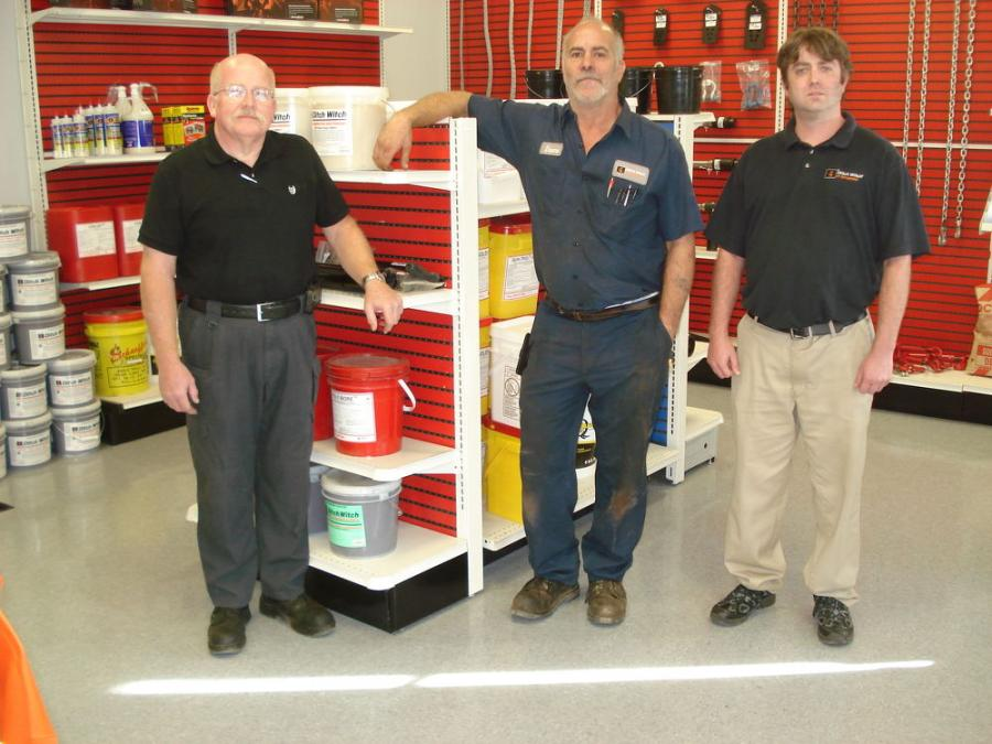 (L-R) are Roy Rolen, service manager; Duane Oelrich, service technician; and Trent Sullivan, parts.