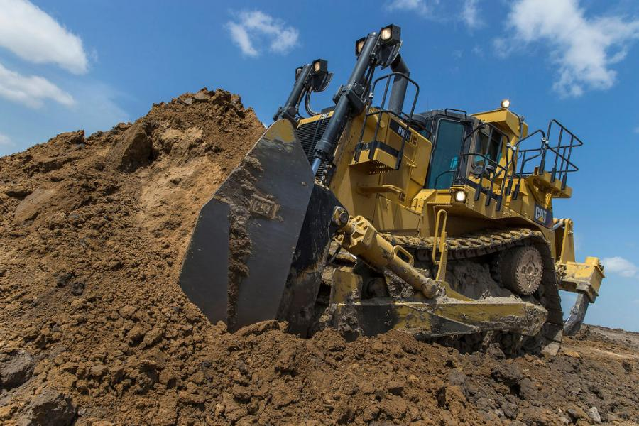 A Cat D10T2 pushing dirt.