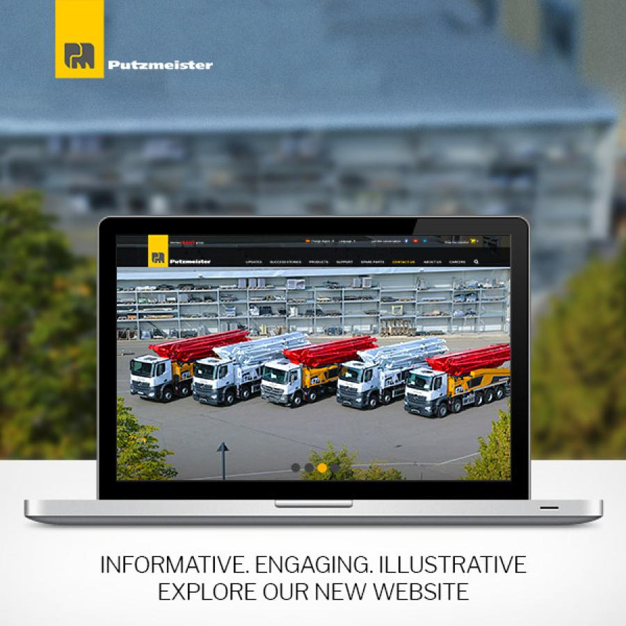 Putzmeister's new website features a user-friendly design and is accessible on desktop and mobile devices.