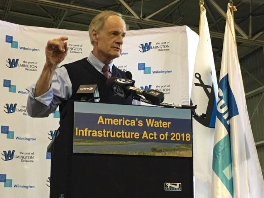 U.S. Senator Tom Carper (D-Del.), highlighted significant Delaware wins in the bill America's Water Infrastructure Act of 2018 (AWIA) — a major bipartisan, bicameral water infrastructure bill.