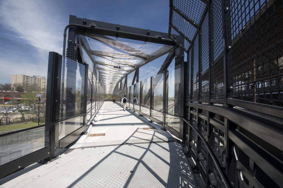 Pedestrian bridges are an ideal setting and use for Superior Transparent Noise Barriers.