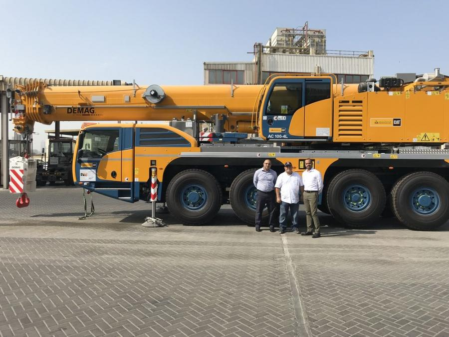 (L-R) are Sahil Sharjah, sales manager, Terex Cranes; Eng Ahmed Bin Ahmed, marine engineer and head of plant, Sharjah Seaports; and Hazem Mousa, account manager, Al Bahar.