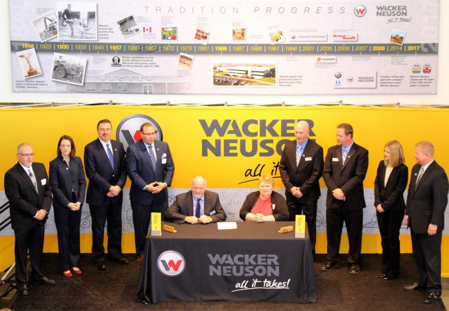 (L-R) are: Buck Tucker, Franklin Equipment;  Kate Fox Wood, AEM; Dennis Slater, AEM; Joshua Johnson, Wisconsin Department of Workforce Development; Johannes Schulze Vohren, Wacker Neuson Sales Americas; Karen Morgan, Wisconsin Department of Workforce Development; Jason Oglesby, Wacker Neuson Sales Americas; Jake Gaylord, Wacker Neuson Sales Americas; Stephanie Steinbach, Wacker Neuson Sales Americas; and Kyle Brandemuhl, Kohler Engines.