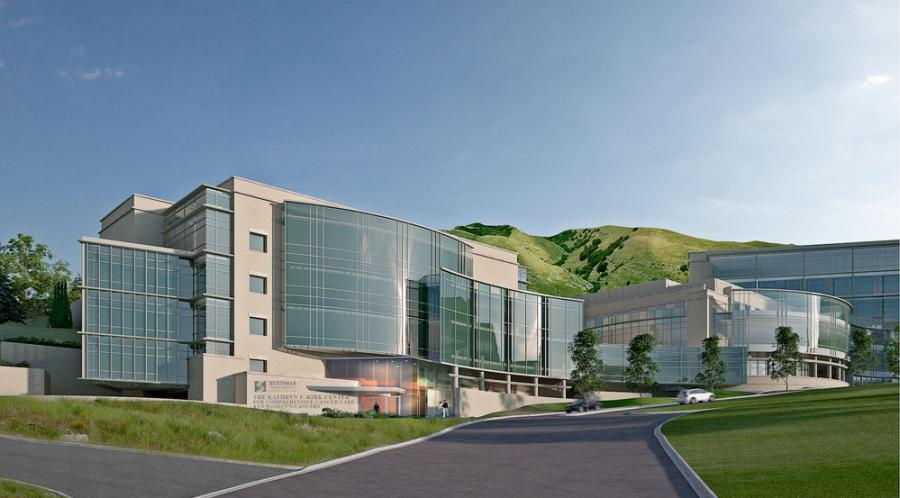 Conceptual rendering of the proposed Kathryn F. Kirk Center for Comprehensive Cancer Care and Women's Cancers at Huntsman Cancer Institute.