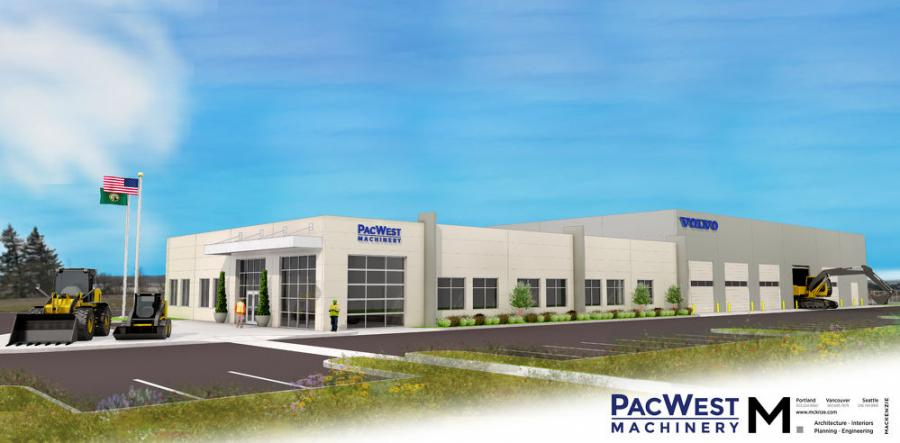 Architect's rendering of the new PacWest Machinery dealership in Pasco, Wash.