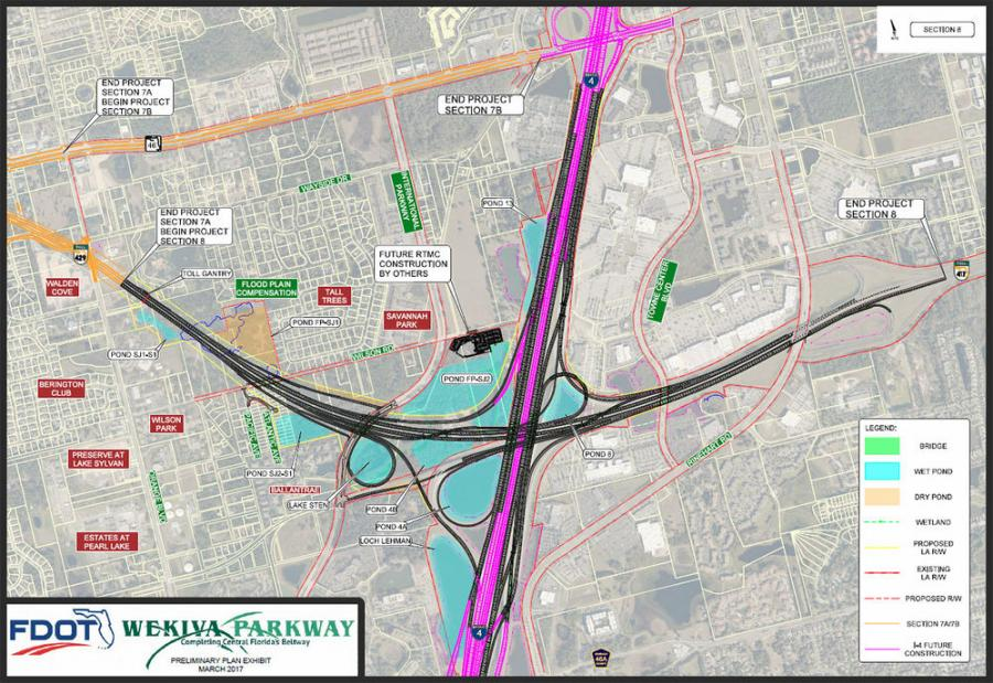 The Lane Construction Corporation has won a design-build contract to construct 2.63 mi. of the Wekiva Parkway (Section 8) in Seminole County, Florida.