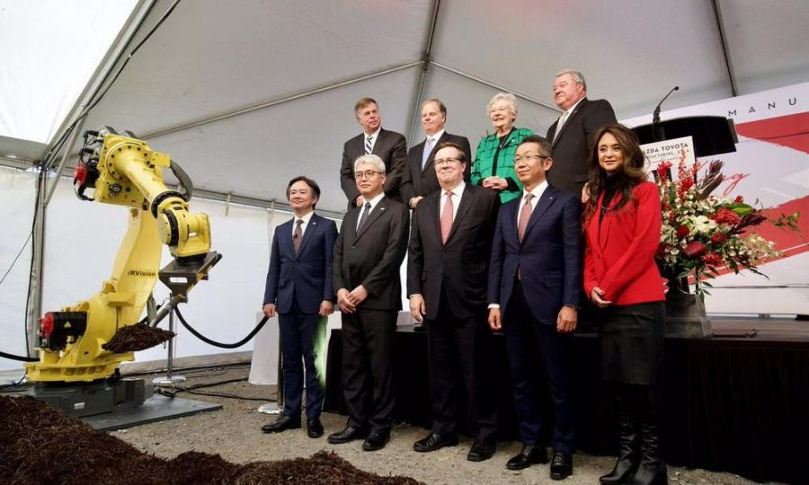 The management team of the Mazda Toyota Manufacturing USA Alabama assembly plant takes the stage for the groundbreaking ceremony Nov. 16 in Huntsville.