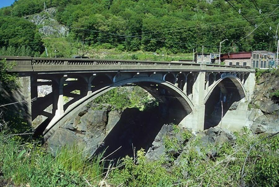 The bridge over the Connecticut River links the village of Bellows Falls, Vt., with Walpole, N.H.