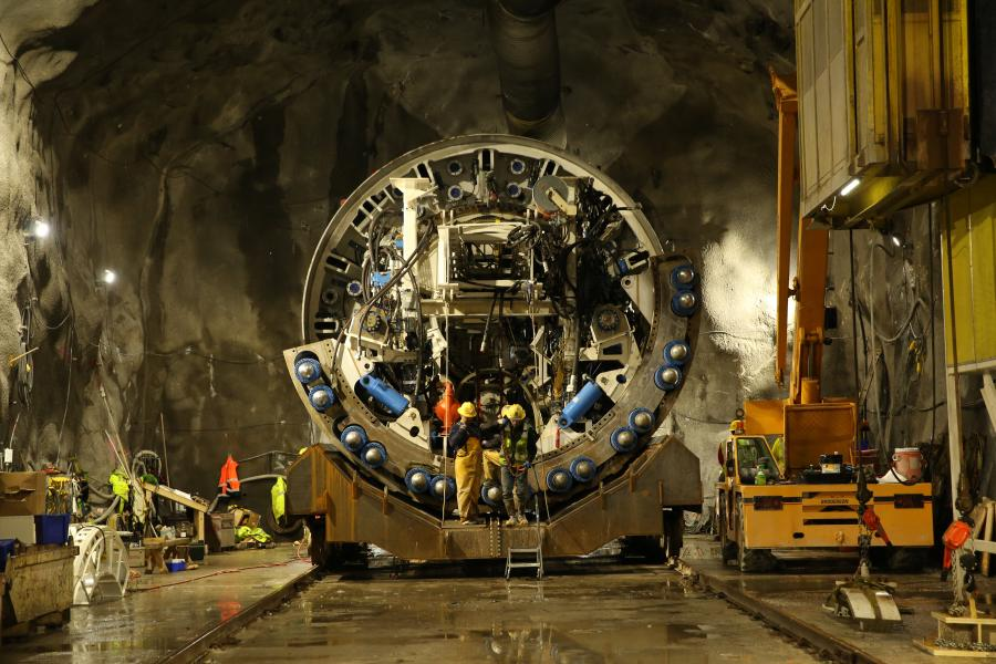 The Delaware Aqueduct Bypass Tunnel is being excavated by one of the world's most advanced tunnel boring machines, which measures more than 470 ft. long and weighs upwards of 2.7 million lbs. (DEP photo)