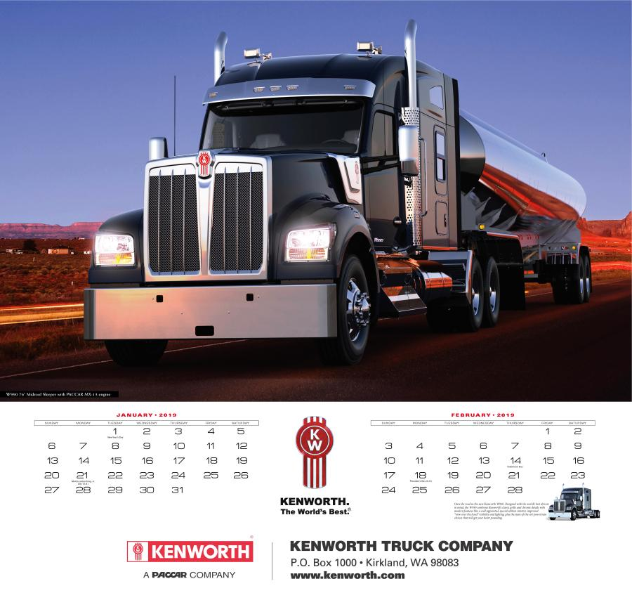 The wall calendar offers a two-month format with six colorful Kenworth truck images.