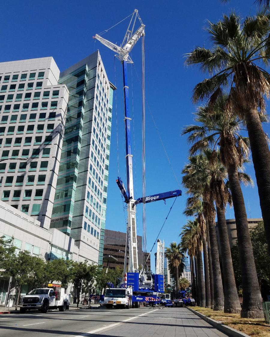 Bigge Crane and Rigging Co.'s LTM 1400-7.1 crane setting cooling towers atop a commercial building in downtown San Jose, Calif.