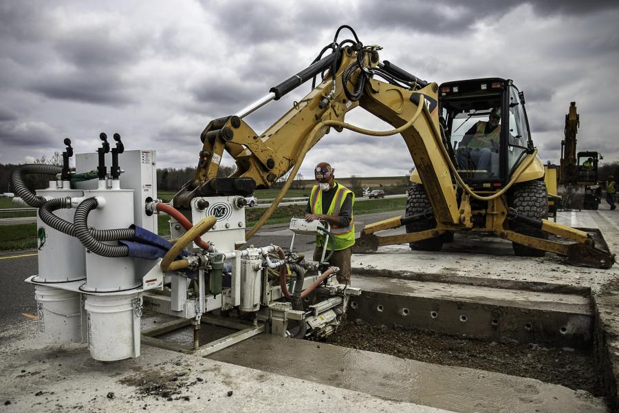 Featuring up to six drills, these pneumatically powered units can be mounted to an excavator, backhoe or skid-steer loader to form a self-contained and highly mobile drilling solution for full-depth repair.