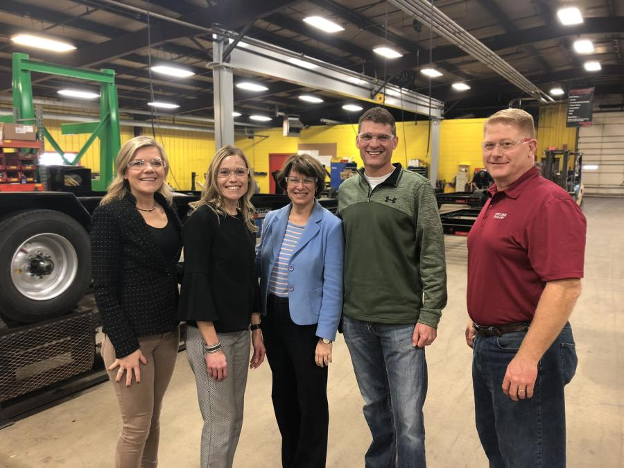 (L-R): Felling co-owners Bonnie Radjenovich and Brenda Jennissen; U.S. Sen. Amy Klobuchar; Paul Radjenovich, Felling vice president of operations; and Mike Cave, director of production – Litchfield, pose for a photo during Klobuchar's tour of Felling's Litchfield facility.