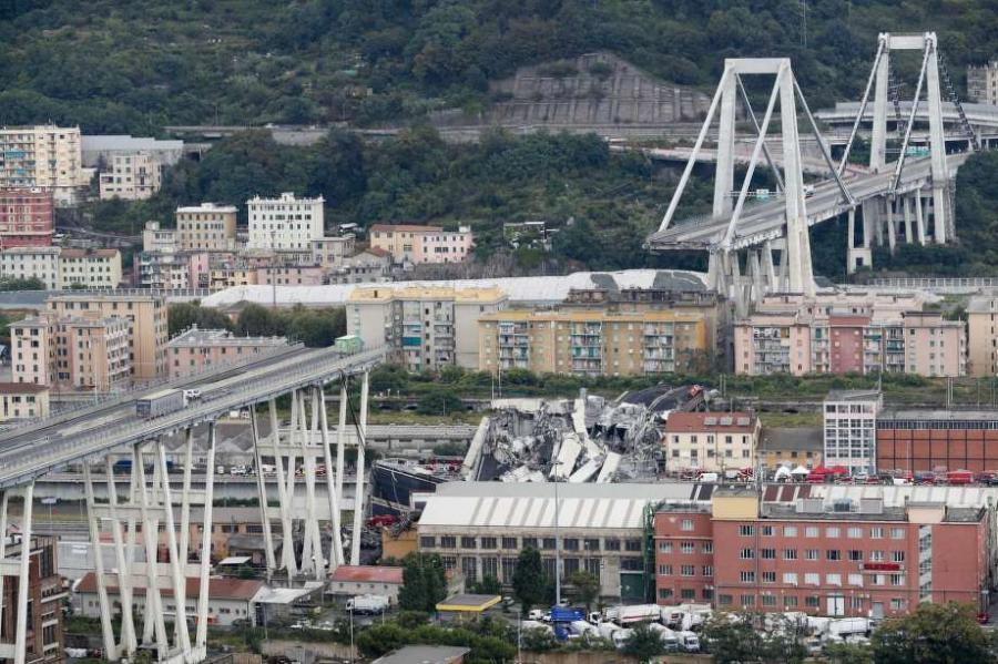 A large section of the Morandi Bridge collapsed over an industrial area during a violent storm.