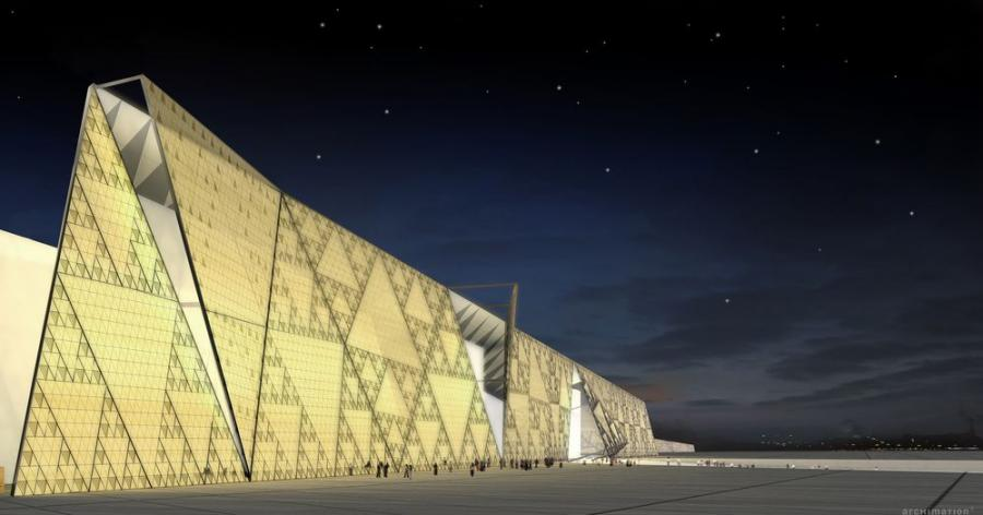A rendering of the museum's translucent stone wall feature. (Photo Credit: heneghan peng architects)