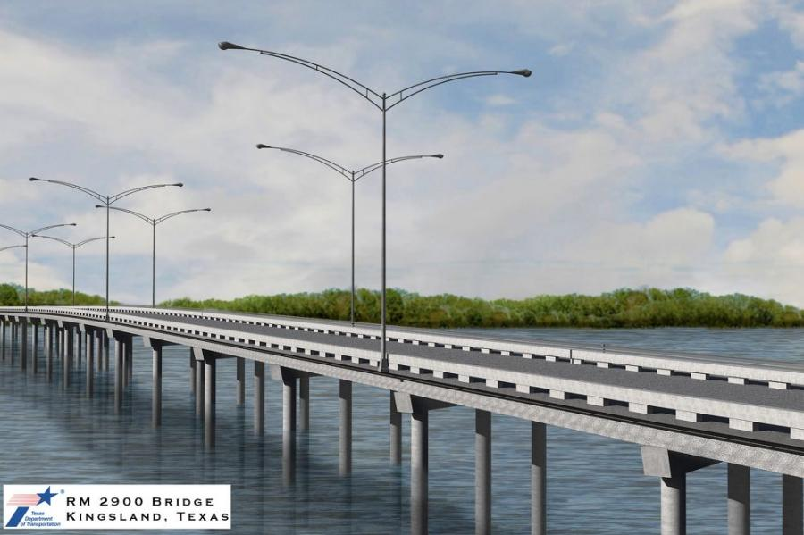 "The bridge will be widened to include 12-ft. travel lanes, 6-ft. shoulders and a 6-ft. sidewalk. It also will be built as a ""perch"" bridge, meaning the center of the bridge will be higher than the ends. (TxDOT photo)"