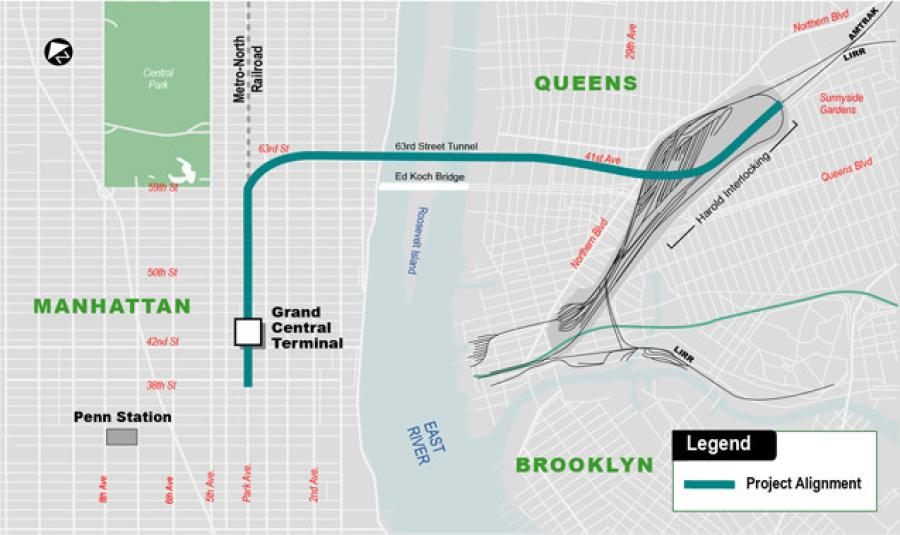 The aim of the East Side Access project is to create a new, direct route for riders of the Long Island Rail Road to and from Manhattan's East Side, alleviating traffic that currently flows through the chaotically congested Penn Station, on the island's West Side.
