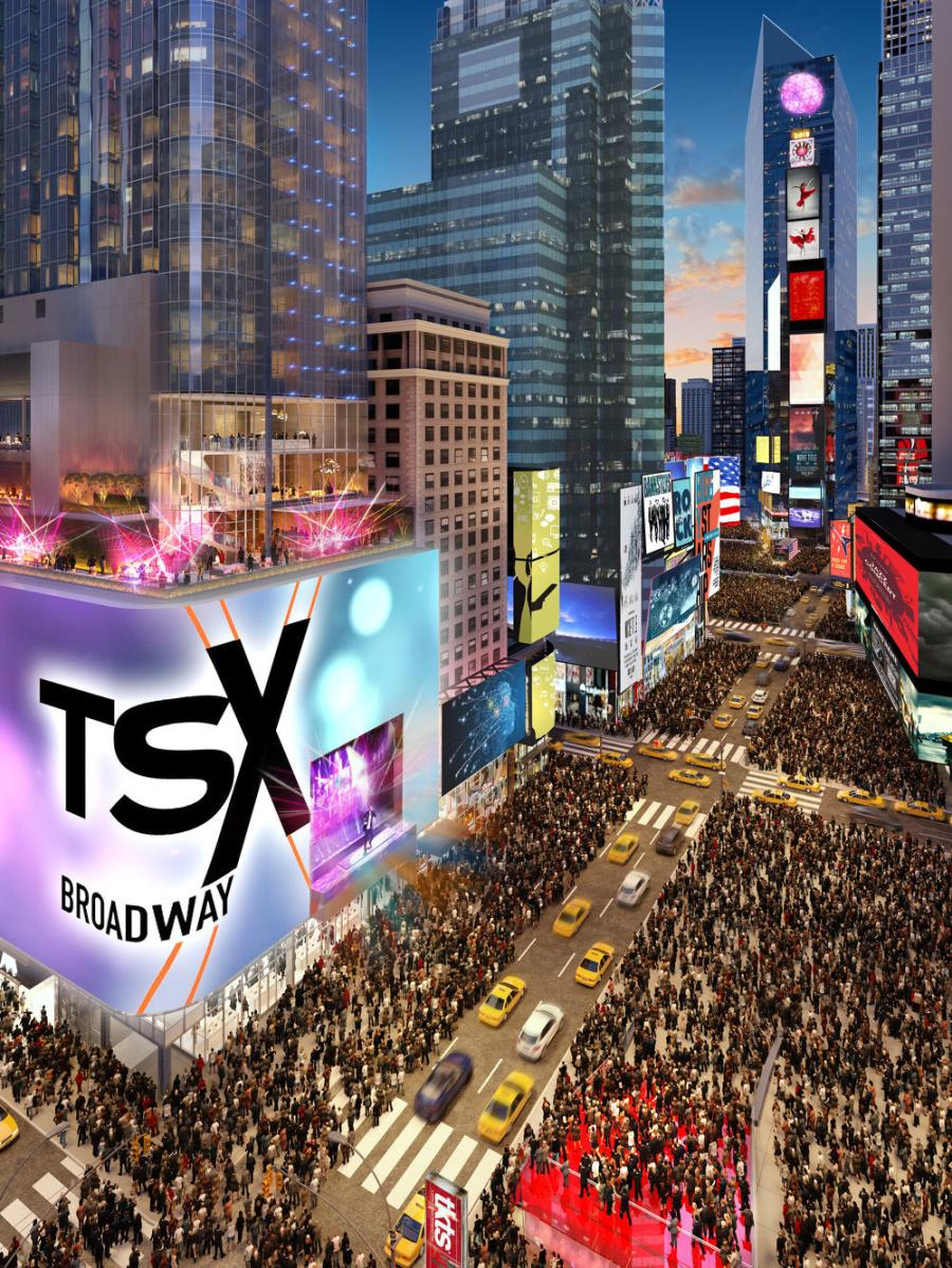 TSX Broadway will bring a new outdoor performance venue to Times Square, enabling events that last for days without any interruption to the streets or pedestrian flow for the first time. The stage will be suspended 30 ft. in the air, overlooking the iconic TKTS 'Red Steps'.