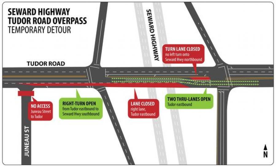 Seward Highway Tudor Road Overpass Temporary Detour