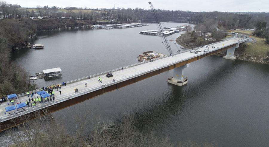 Opening ceremonies are held on the new Kennedy Mill Bridge Dec. 21. (Walsh Construction photo)