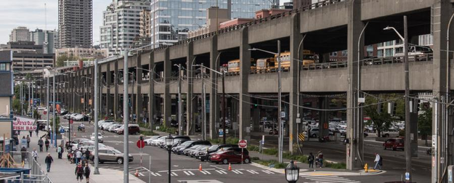 Officials say tearing down viaduct, damaged in a 2001 earthquake, will allow Seattle to reimagine its waterfront with a park and other amenities. (WSDOT photo)