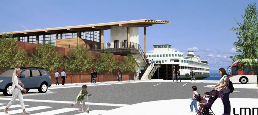 Conceptual rendering of the terminal from the new transit center (Washington State Department of Transportation photo)