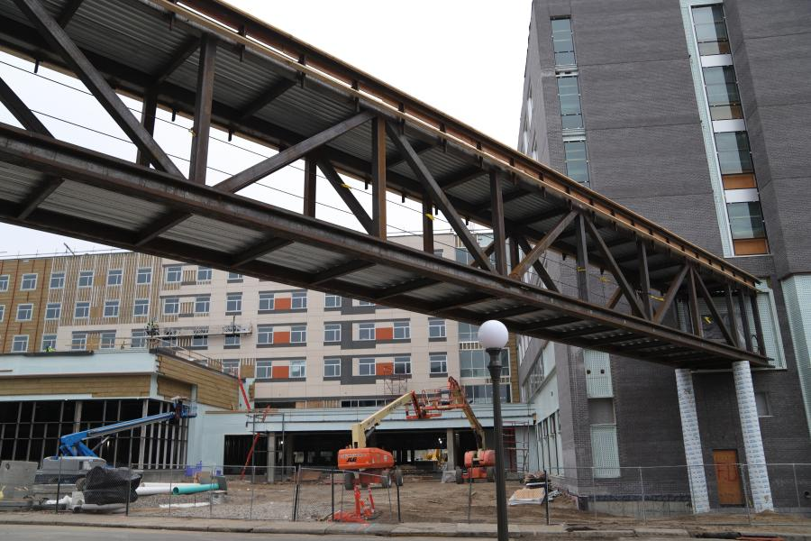 Crews recently lifted into place a 212-ft. second-floor skyway from the Higher Ground St. Paul building to the nearly enclosed St. Paul Opportunity Center and Dorothy Day Residence.