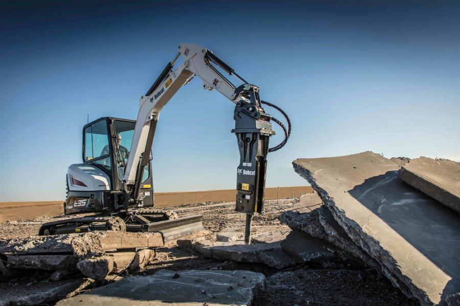"""The Bobcat nitrogen breaker has the impact power customers want for difficult demolition jobs, like removing reinforced concrete slabs,"" said Travis Kidder, Bobcat attachment product specialist."
