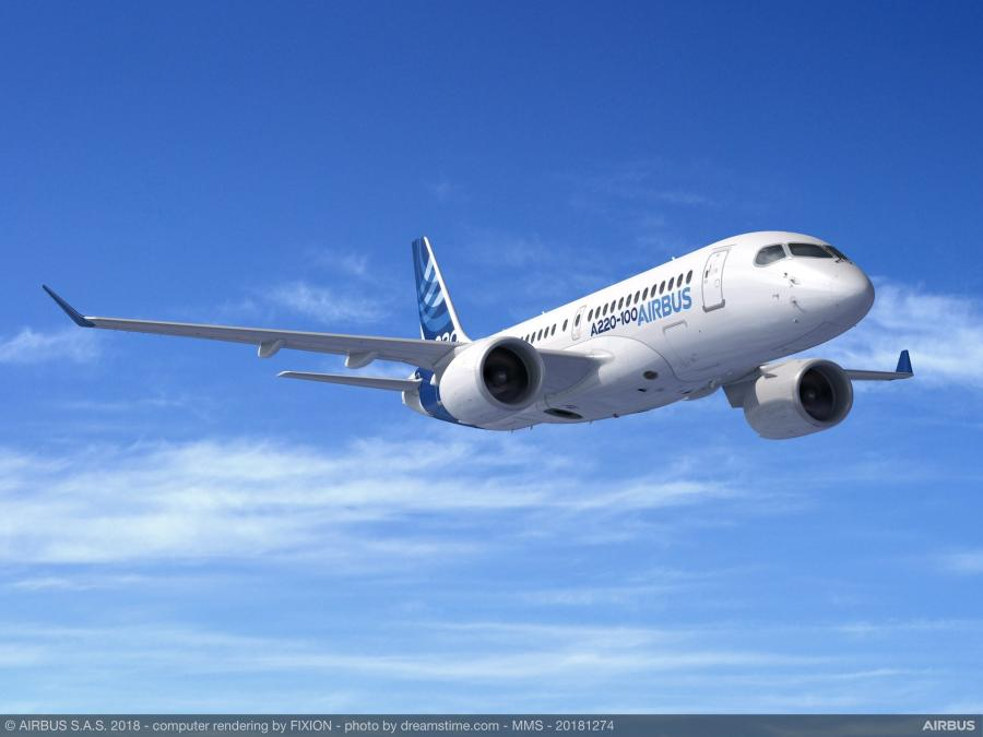 Officials broke ground on the new A220 aircraft manufacturing facility.