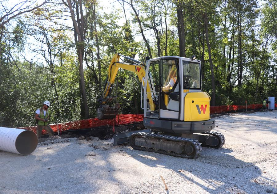 With best-in-class dig depth (11 ft. 6 in. [3.5 m]) and reach (18 ft. 6 in. [5.6 m]), the EZ36 is highly productive and offers the performance of a conventional track loader with excellent maneuverability and stability on a minimal swing machine, according to the manufacturer.