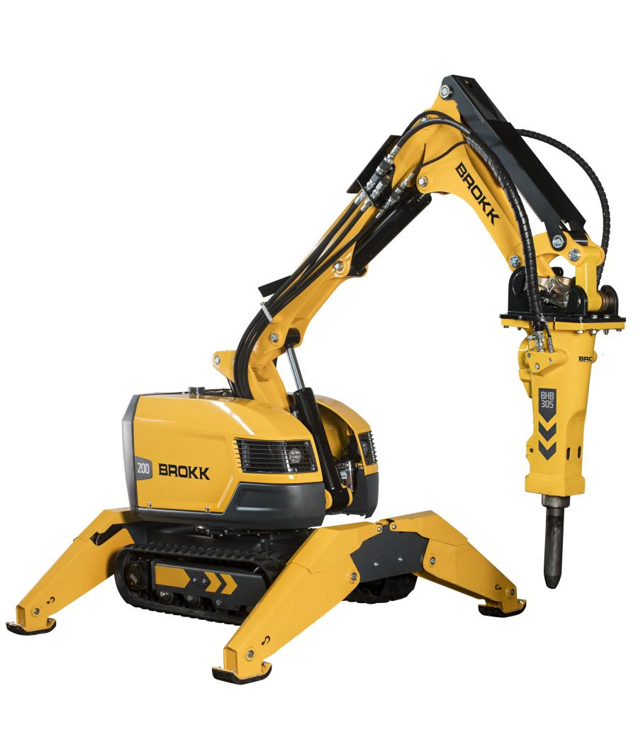 The Brokk 200 operates tools with requirements typical of one weight class above. When paired with the new Brokk BHB 305 breaker, the unit's hitting power is increased by 40 percent.