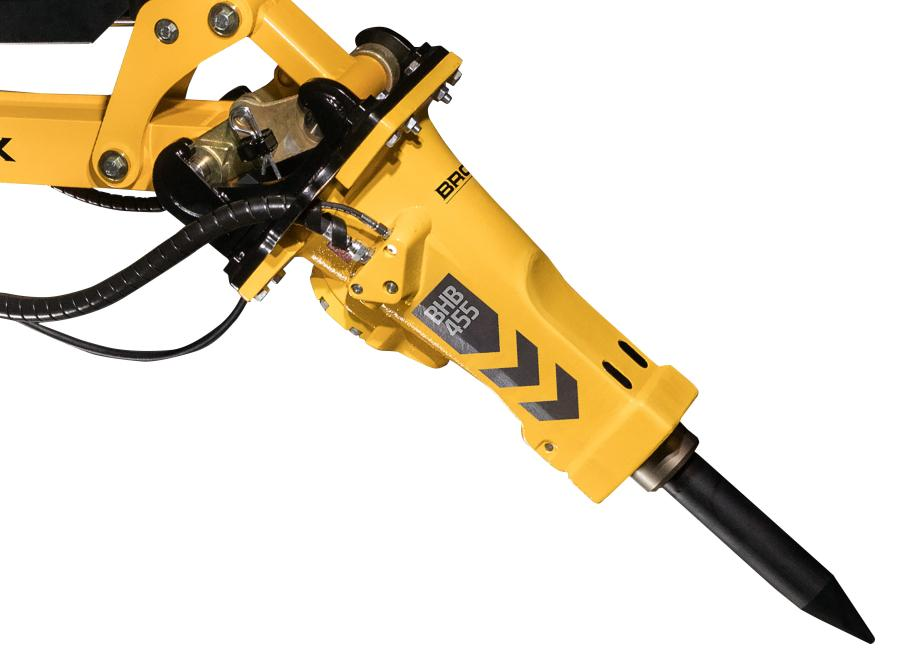 The Brokk Hydraulic Breaker (BHB) series high-performing breakers match perfectly with the company's full range of remote-controlled demolition robots.
