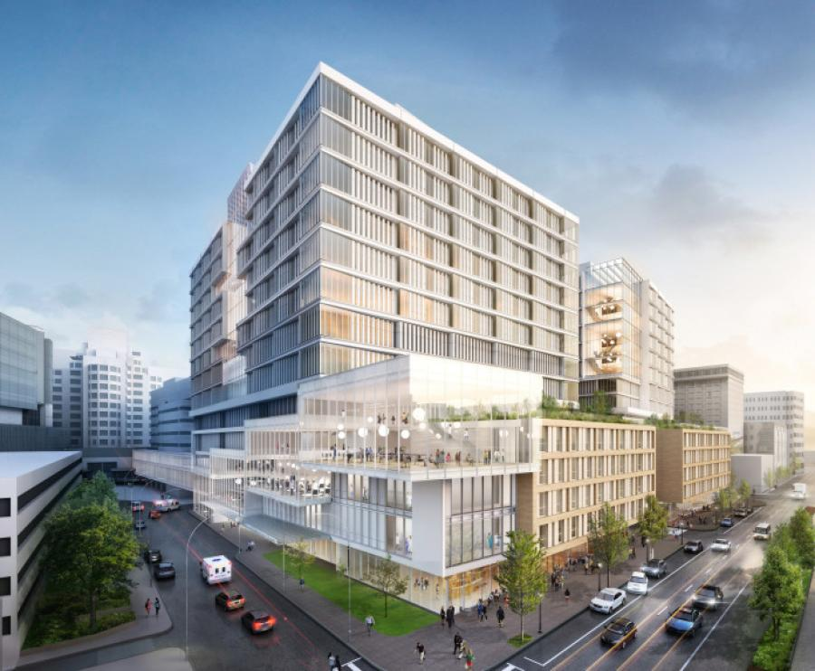 The new additions will be located entirely within the hospital's current campus, with a facade to go along Cambridge Street.