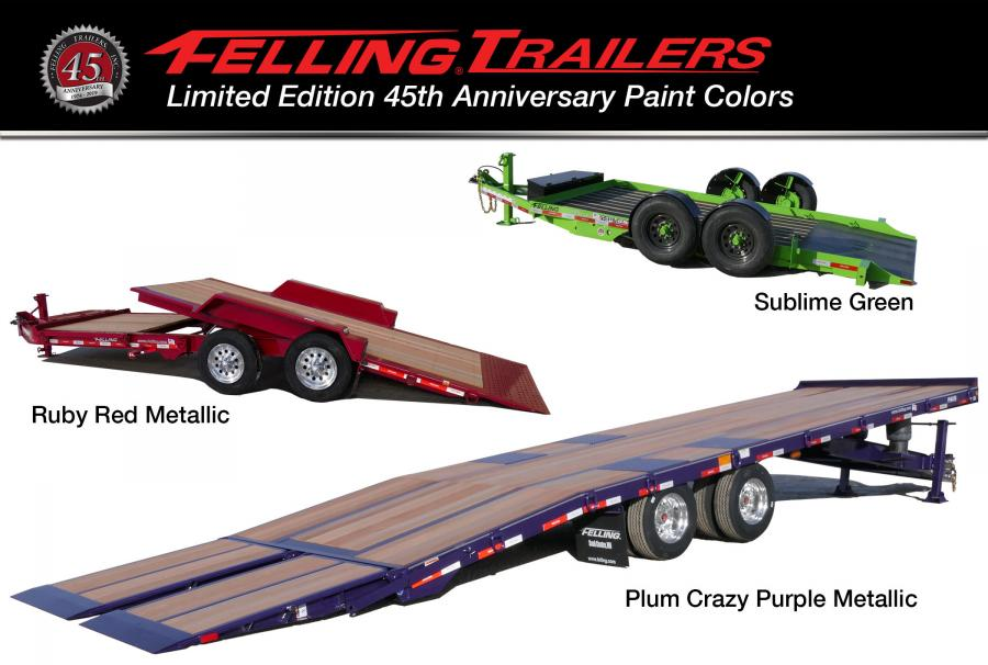 To commemorate its anniversary, Felling has selected three limited edition paint colors — Plum Crazy Purple Metallic, Ruby Red Metallic and Sublime Green.