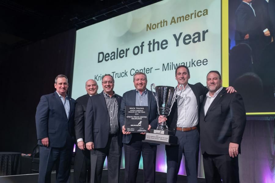 Mack Trucks named Kriete Truck Center of Milwaukee, Wis., its 2018 North American Dealer of the Year. Mack made the announcement during its annual dealer meeting, which brings together dealer leadership from the United States and Canada. (L-R) are Martin Weissburg; Joseph Favia; David Barletta; Marty Dudenhoe; David Kriete; and Jonathan Randall.
