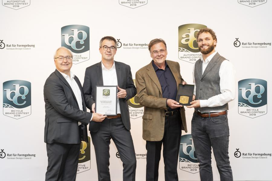 "(L-R) are Gottfried Beer and Axel Römer, both of  HAMM; and Ulrich Ewringmann and Julius Renz, both of Dialogform, at the Automotive Brand Contest 2018 prize giving ceremony in Paris on Oct. 2 during the ""Mondial de l'Automobile"" trade fair."