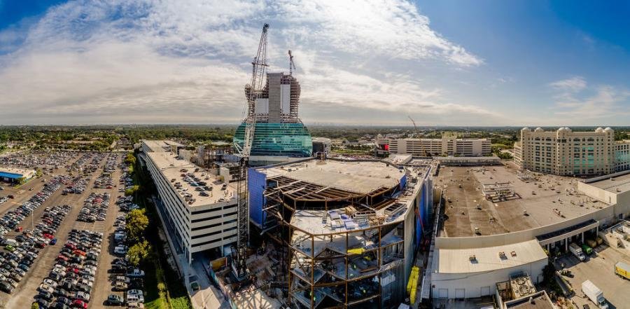 Superior Rigging and Erecting Co. assists with the construction of the Hard Rock Hotel and Casino expansion in Hollywood, Fla., with a Liebherr LR 1300 SX crawler crane.