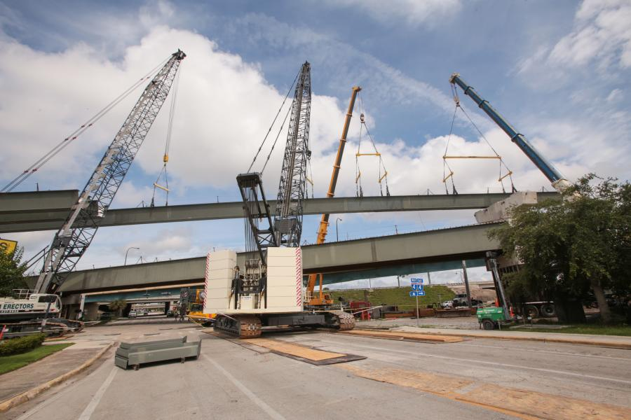Throughout Area 2, V&M will equip its three HC cranes with boom configurations ranging from 140 to 200 ft. (42.7 to 61 m) and work at radii where the lift chart offers capacities from 150,000 to 200,000 lb. (68,039 to to 90,718 kg).