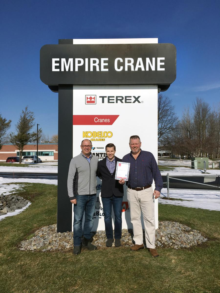 (L-R) are Luke Lonergan, Empire Crane vice president / CEO; Dan McCallum, Stoneridge / ORLACO senior network partner manager; and Paul Lonergan, Empire Crane president.