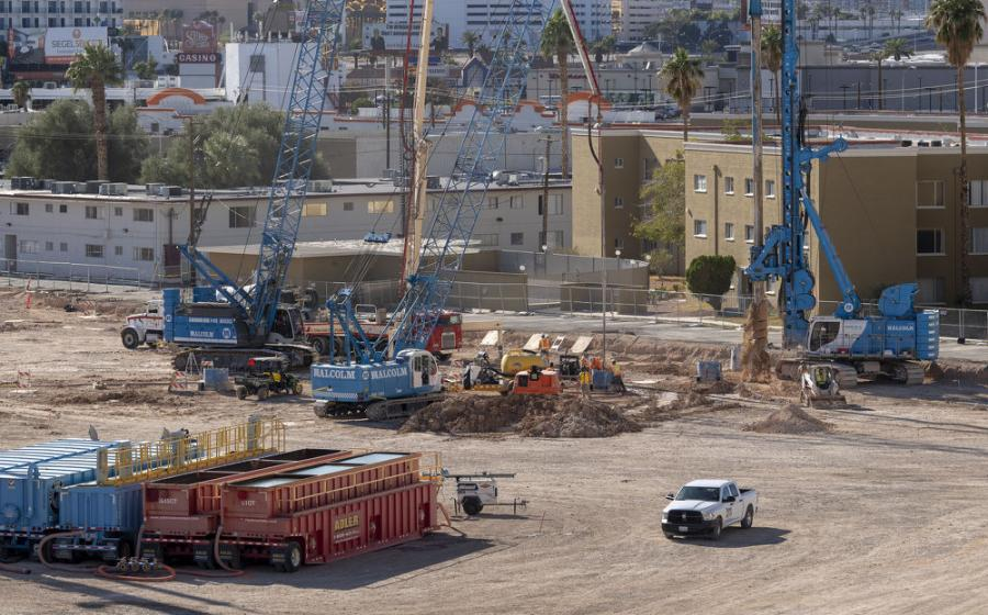 Equipment currently utilized on site to construct the steel and concrete structural frame of the new building includes three deep foundation drilling rigs; three conventional lattice boom cranes; two to three large front-end loaders; and two to three large excavators.