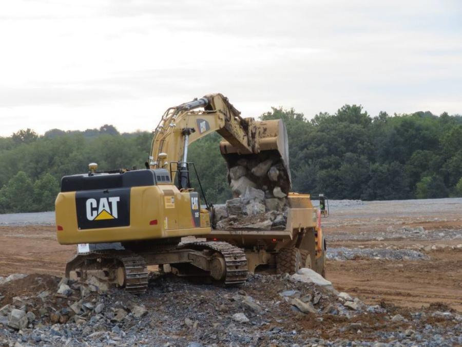 Schlouch earthwork crews begin removing rock from the 35-acre site Brodhead Distribution Center, located in Bethlehem Township, Northampton County, Pa.