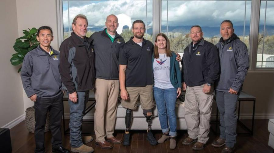 Sunbelt Rentals team members joined R.I.S.E. home recipient U.S. Army SFC Caleb Brewer and wife Ashley at their Feb. 6, 2019 GSF (Gary Sinese Foundation) home dedication in Tucson, Ariz.
