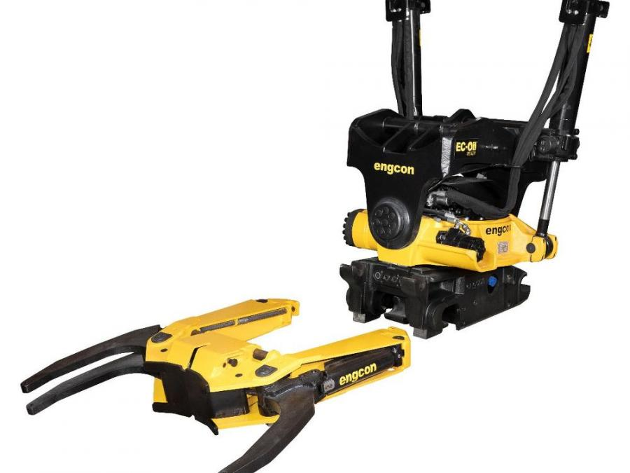 The GRD70 grab cassette for Engcon's biggest tiltrotator, the EC233, and the Q-Safe 70 quick hitch, will be a powerful grab with the gripping force of 2.4 tons (2.2 t) and grab width of more than 3 ft. (.9 m).