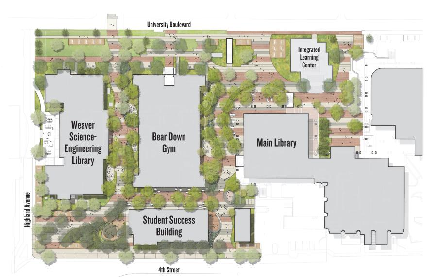 The district will integrate the Main Library, the Albert B. Weaver Science-Engineering Library and Bear Down Gymnasium along with a new building — to be called the Student Success building — which is being constructed immediately south of Bear Down. Renovations are planned for the other buildings in the district.
