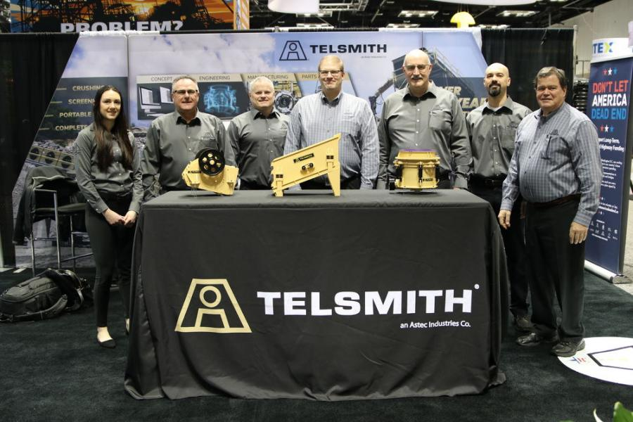 (L-R) are Amanda Haag, marketing coordinator; Dave Noggle, RSM; Jeff Gray, vice president of sales and marketing; Al Van Mullen, vice president of engineering; Matt Haven, president; Dean Wolfe, product applications engineer supervisor; and Jerry Sammons, RSM, all of Telsmith.