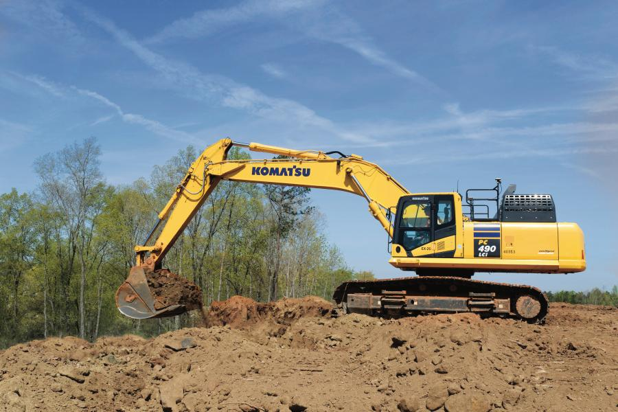 Utilizing a Komatsu intelligent Machine Control PC490LCi excavator, like the one pictured here, has helped RAMS Contracting increase its efficiency. Last summer, the excavator was  essential in the company's completion of a 16-acre athletic complex on schedule, despite wet conditions.